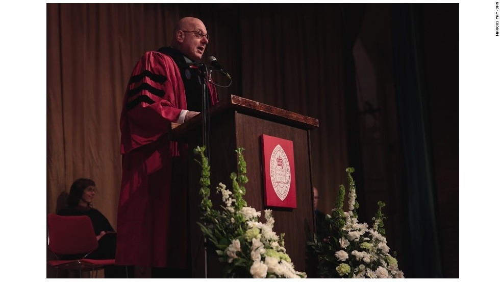 Bard College President Leon Botstein addresses the graduates.