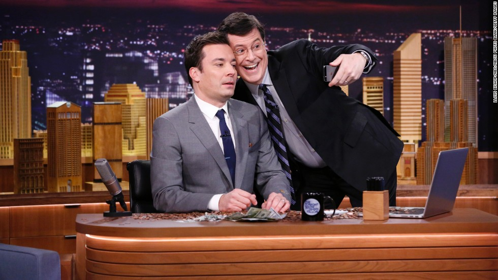 "Jimmy Fallon's takeover of ""The Tonight Show"" has been inevitable, <a href=""http://www.gq.com/style/wear-it-now/201304/jimmy-fallon-interview-gq-april-2013"" target=""_blank"">show producer Lorne Michaels told GQ</a>. ""He's the closest to (Johnny) Carson that I've seen of this generation,"" Michaels said. Stephen Colbert joins him to take a selfie on his debut Monday night. Fallon is the latest in a six-decade line of ""Tonight"" hosts."