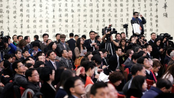 Reporters at Chinese Premier Li Keqiang's press conference