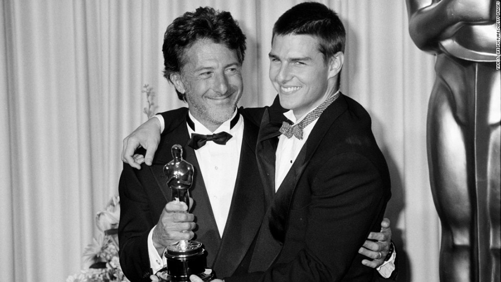 "Awards came pouring in for ""Rain Man"" with Dustin Hoffman, left, as an autistic savant and Tom Cruise as his younger brother. Hoffman picked up his second best actor Oscar and received congratulations from Cruise at the 1989 ceremony. Cruise wasn't even nominated, but he was probably just fine with starring in the best picture winner."