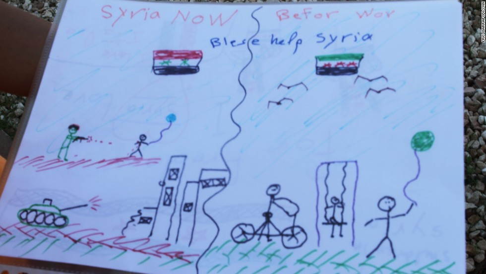 A Syrian child drew this image after arriving in Lampedusa.