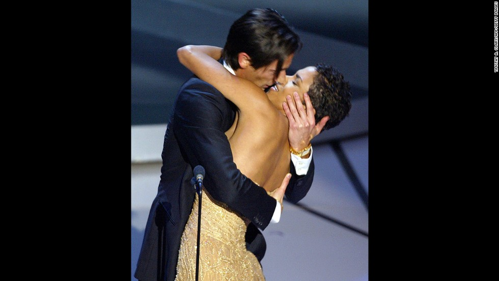 "Adrien Brody appeared so thrilled when he won best actor award for ""The Pianist"" he even got Oscar presenter Halle Berry caught up in the moment with a passionate kiss at the 2003 ceremony. ""I bet they didn't tell you that was in the gift bag,"" he joked when he finished. It was his first nomination and win."