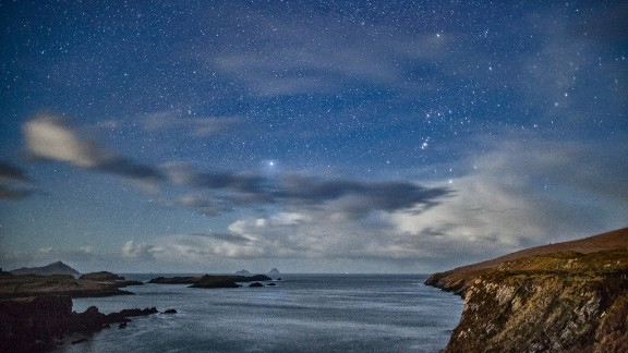 <strong>Kerry Dark Sky Reserve (Ireland): </strong>Orion is one of several constellations that can be seen at this dark sky reserve in Ireland. In this photo, and with the naked eye when there, you can see the Milky Way, the Andromeda Galaxy and the Orion Nebula.