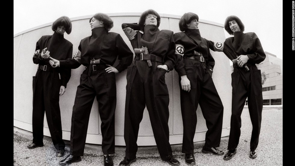 Devo poses together in Los Angeles in March 1983.