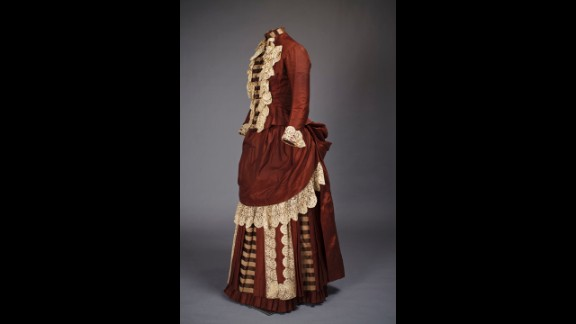 An American woman from the mid- to late-1800s would wear many layers of silhouette-forming undergarments -- and a dress built for that sort of buttressing -- whenever she left the house.