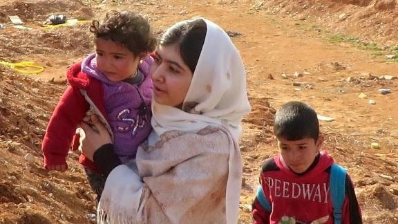 Malala Yousafzai in Jordan's Zaatari Refugee Camp near the Syrian border.
