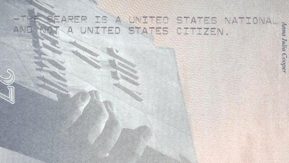 A portion of the passport given to residents of American Samoa, a U.S. territory where citizenship is not automatically granted.