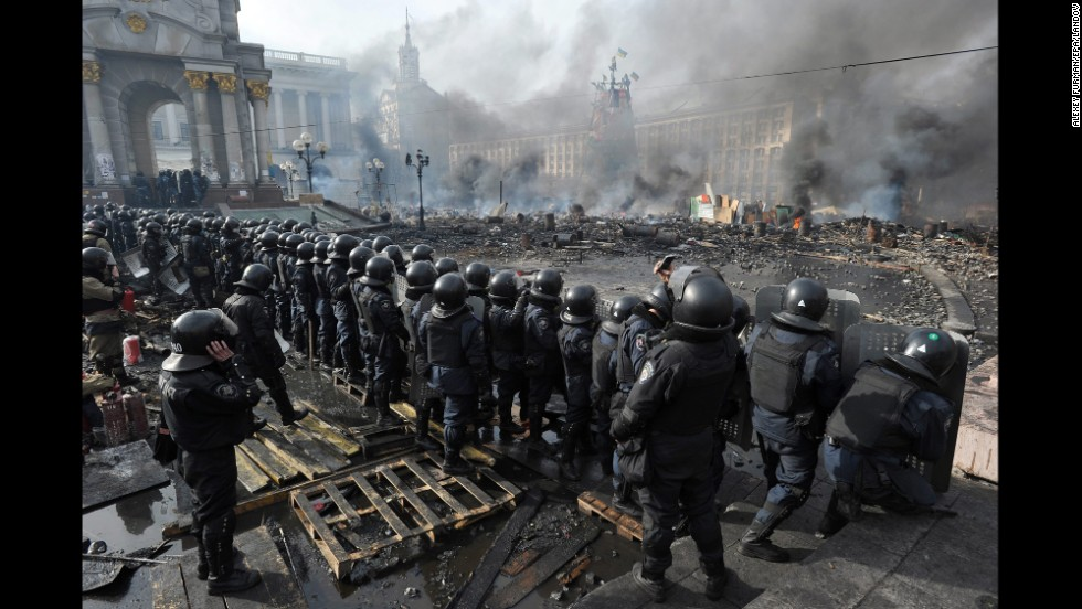 Riot police line up in Kiev on February 19.