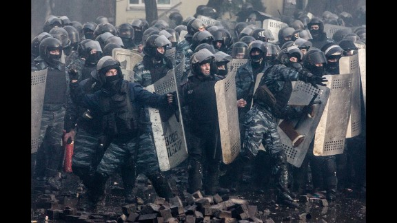 Riot police stand firm in Kiev on February 18.