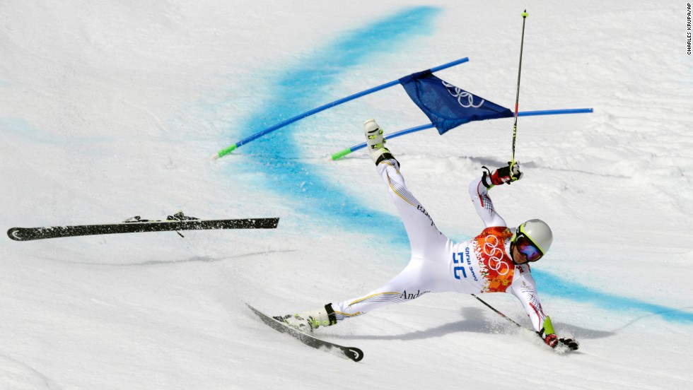 Joan Verdu Sanchez of Andorra crashes in his first run of the giant slalom.