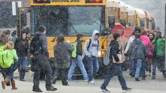 Students from Henderson County, Kentucky, headed to buses after an early dismissal due to weather on February 4. Around the state, several districts held school on President