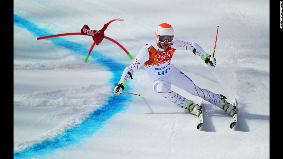 American skier Jared Goldberg negotiates a turn during a run in the men's giant slalom on February 19.