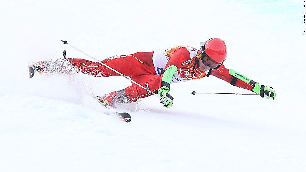 Zhang Yuxin of China competes in the men's giant slalom.