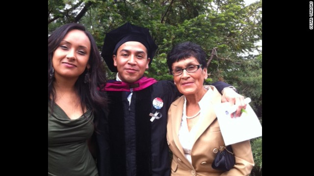Cesar Vargas at his law school graduation with Erika Andiola, left, and his mother, Teresa Galindo.