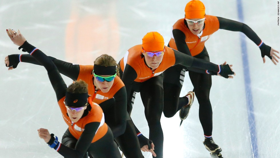 Dutch speedskaters practice on February 20.
