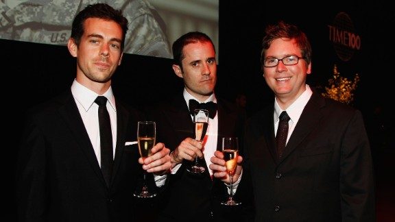 Jack Dorsey, Evan Williams and Biz Stone, left to right, started Twitter in 2006. The fast-growing company went public last year and is now worth more than $30 billion, making them all very wealthy.