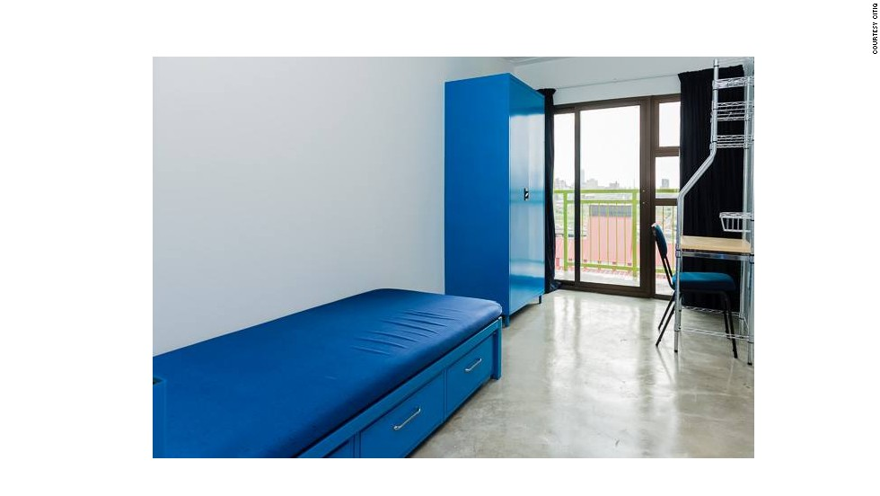 The inside of a bedroom at the Mill Junction building, kitted out with the needs of a student in mind.