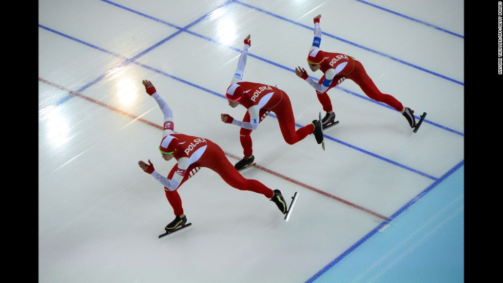 From left, Polish speedskaters Natalia Czerwonka, Katarzyna Bachleda-Curus and Luiza Zlotkowska compete in the women's team pursuit quarterfinals on February 21.