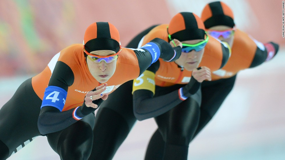 From left, Dutch speedskaters Ireen Wust, Charlotte van Beek and Jorien ter Mors compete in the women's team pursuit on February 21.