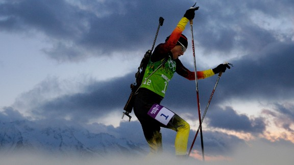German biathlete Andrea Henkel competes during the women