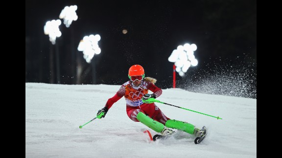 Denise Feierabend of Switzerland competes during the women