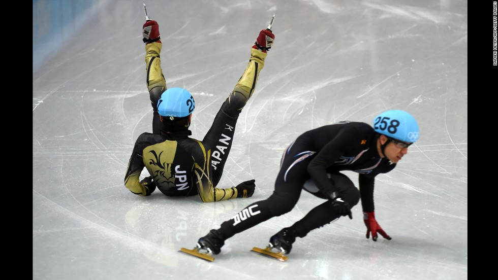 Short track speedskater Satoshi Sakashita of Japan falls as he competes in the quarterfinals of the men's 500 meters on February 21.