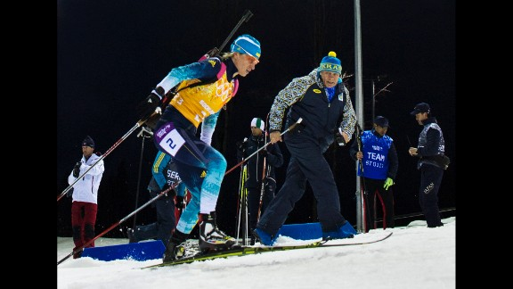 Ukrainian biathlete Valj Semerenko competes in the women