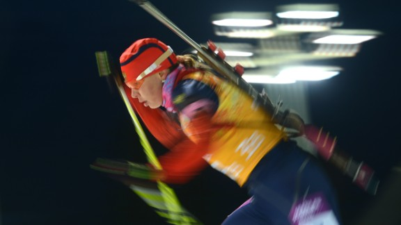 Biathlete Ekaterina Shumilova of Russia competes in the women