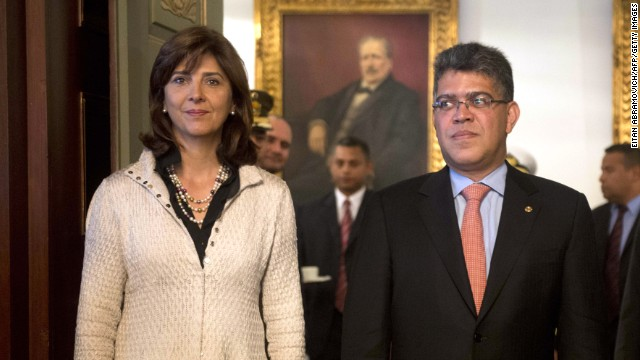 Colombian Foreign Minister Maria Angela Holguin (L) arrives for a meeting with his Venezuelan counterpart Elias Jaua at San Carlos Palace in Bogota on October 10, 2013.AFP PHOTO/Eitan Abramovich (Photo credit should read EITAN ABRAMOVICH/AFP/Getty Images)