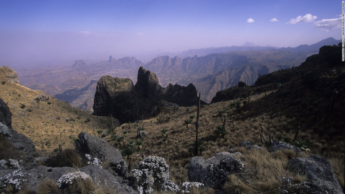 Massive erosion over the years on the Ethiopian plateau has created one of the most spectacular landscapes in the world. The Simien National Park is dotted with jagged mountain peaks, deep valleys and sharp precipices that drop nearly 5,000 feet.