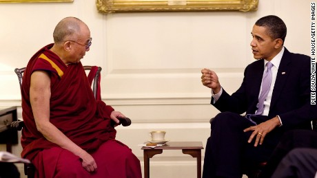 President Barack Obama meets with His Holiness the Dalai Lama in the Map Room of the White House, February 18, 2010.