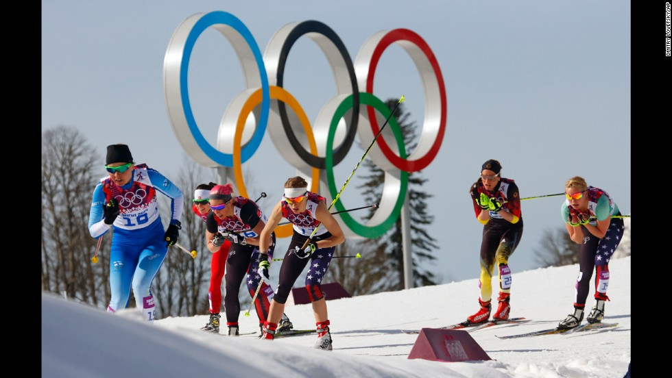 Finland's Riitta-Liisa Roponen, left, leads other competitors during the women's 30-K cross-country race on February 22.