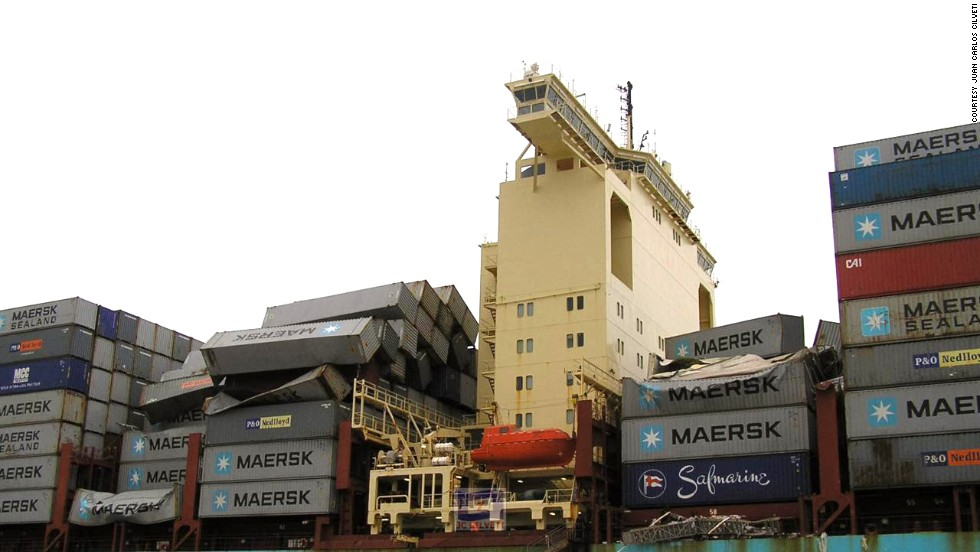 The ship is now undergoing repairs in the port of Malaga, Spain.