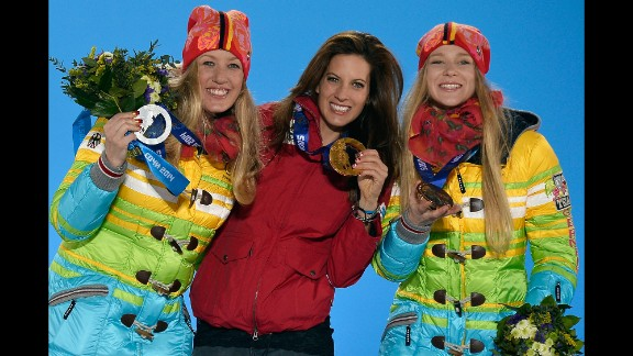 Anke Karstens of Germany (silver), Julia Dujmovits of Austria (gold) and Amelie Kober of Germany (bronze) show off their ladies