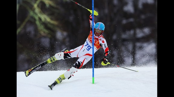 Emre Simsek of Turkey wipes out during the first run during the men