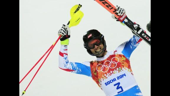 Austria's Mario Matt celebrates after a men's alpine skiing slalom run on February 22.