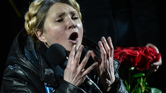Newly freed Ukrainian opposition icon Yulia Tymoshenko speaks at Independence Square on February 22, 2014, moments after parliament voted to hold early presidential elections in May. Tymoshenko received a rapturous welcome on Independence Square. 'You are heroes