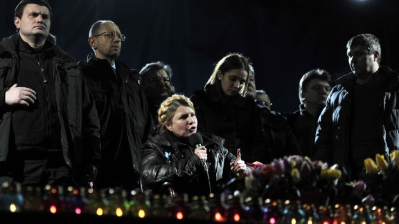 Former Prime Minister Yulia Tymoshenko speaks at Independence Square on Saturday, February 22, hours after being released from prison. Tymoshenko, considered a hero of a 2004 revolution against Yanukovych, was released after 2½ years behind bars.