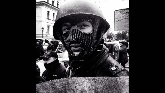 """KIEV, UKRAINE:  """"Anti-government demonstrator in makeshift riot gear (February 22), a member of several protection units set up by the organizers of the occupation of Maidan Square."""" - CNN's Christian Streib.  Follow Christian on Instagram at instagram.com/christianstreibcnn."""