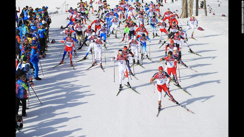 Chris Andre Jespersen of Norway leads in the men's 50-kilometer mass start free on February 23.