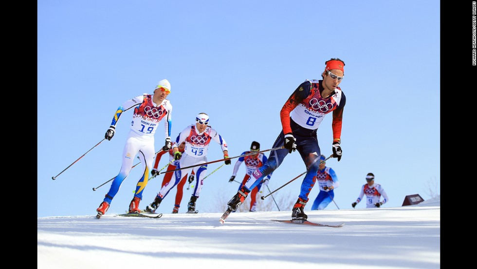 Ilia Chernousov of Russia competes in the men's 50-kilometer mass start free on February 23.