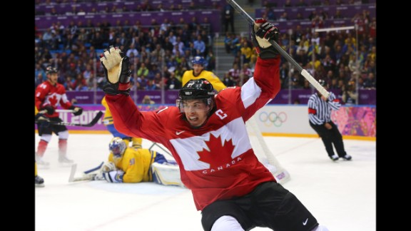 Sidney Crosby celebrates after scoring Canada