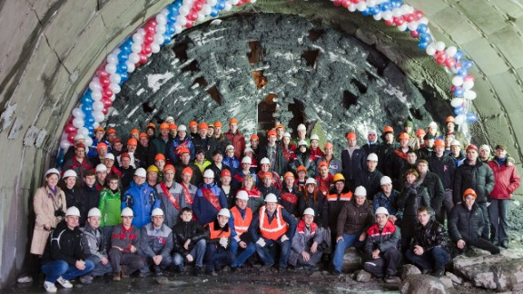 """Here are some of the team that helped to deliver the road to Krasnaya Polyana, Sochi's new alpine resort and venue cluster for the 2014 Winter Games. """"Down the road in Adler there is an old tunnel built 120 years ago ... but the decision to build it was right because it has been used so much. All infrastructure pays off in this way,"""" Toni told CNN."""