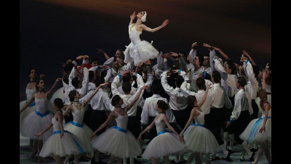 Dancers celebrate Russian ballet.