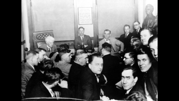 """This 1921 photo shows baseball commissioner Judge Kenesaw Mountain Landis, rear left, during the investigation of the infamous """"Black Sox"""" scandal in Chicago. Eight White Sox players received life suspensions from baseball after being accused of accepting bribes to lose the 1919 World Series."""