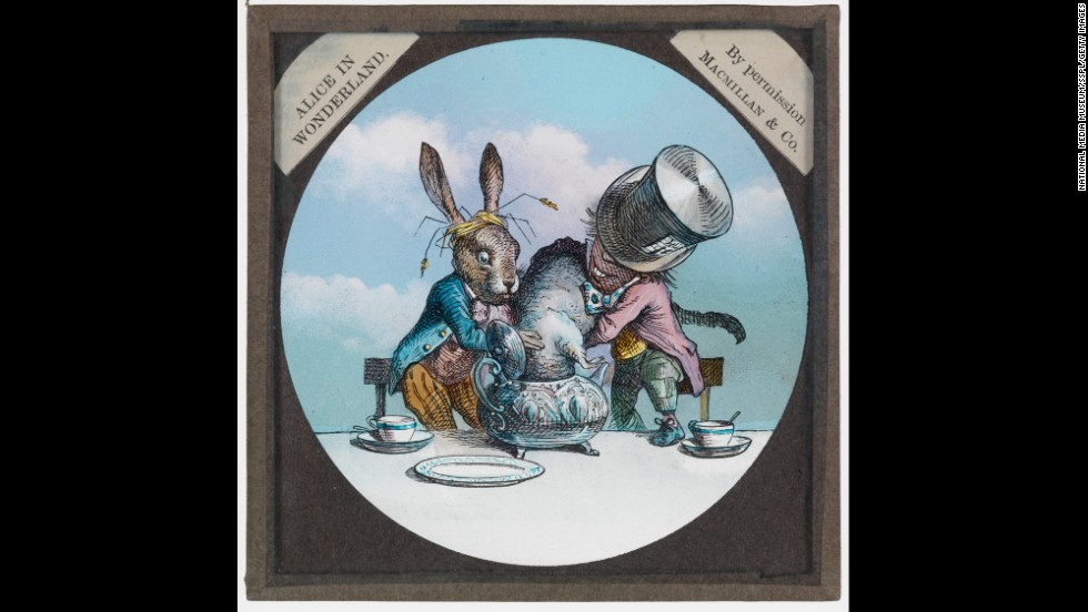 Another slide  show's the tea party at the Mad Hatter's.