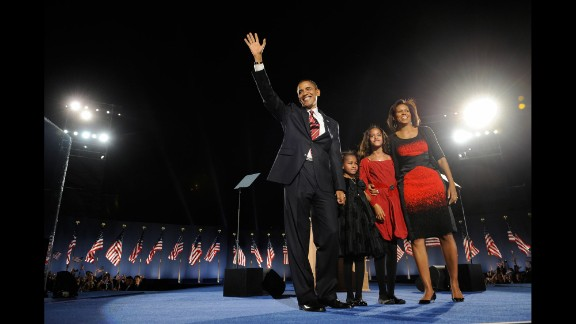 Barack Obama and his family celebrate in Chicago's Grant Park after he won the presidential election on November 4, 2008. Obama first moved to Chicago after college to work as a community organizer. He went on to finish Harvard Law School and returned to Chicago to teach constitutional law at the University of Chicago. He worked as a civil rights attorney and a state senator before being elected to the U.S. Senate in 2004. First lady Michelle Obama was born and raised on Chicago's South Side.