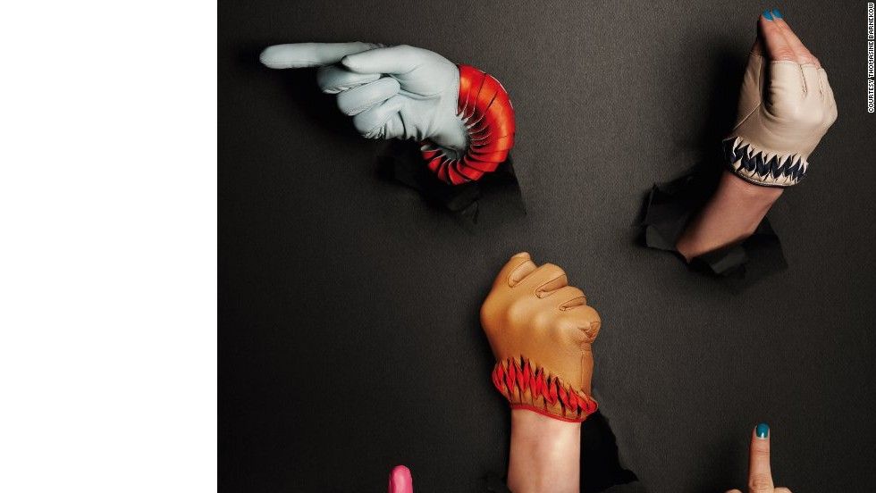 Barnekow designs her gloves in materials such as leather from Icelandic salmon or hand-painted python.