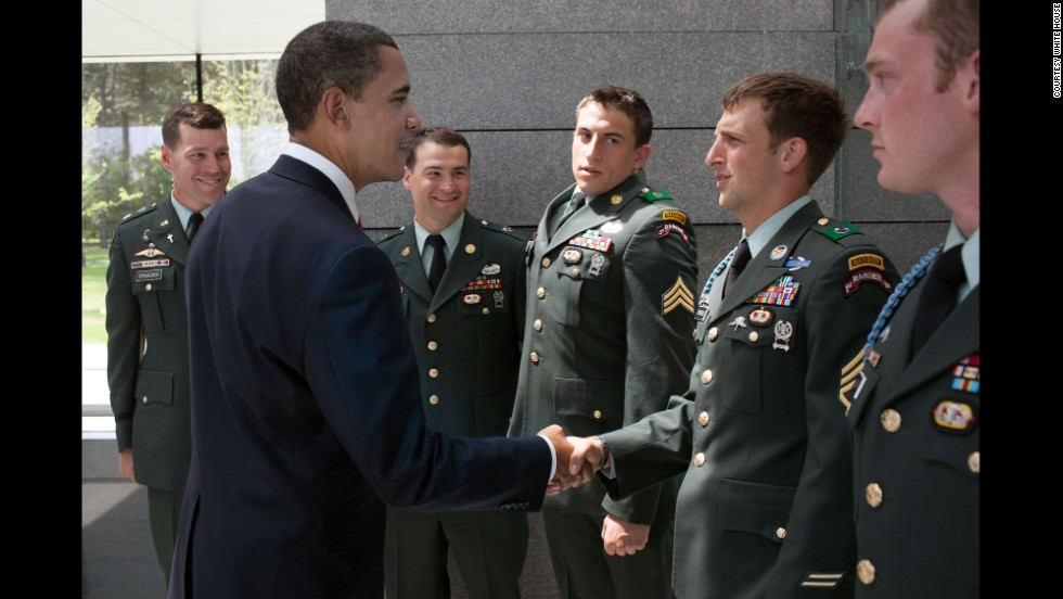 Americans first learned about the bravery and sacrifice of injured veteran Cory Remsburg during President Barack Obama's 2014 State of the Union speech -- where Remsburg received thunderous applause in Congress. Turns out Obama and Remsburg had crossed paths a few times. In 2009 before his injuries, Sgt. 1st Class Remsburg met Obama at Omaha Beach on the 65th anniversary of the Allies' D-Day invasion of Nazi-occupied France. Remsburg was one of several soldiers who parachuted in during a D-Day re-enactment.