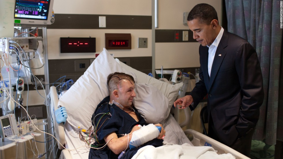 Obama met Remsburg for the second time at the National Naval Medical Center in Bethesda, Maryland, on February 28, 2010.  The President realized the two had met before when he saw the photo of them in Normandy by Remsburg's bedside.
